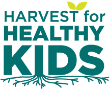 Harvest for Healthy Kids Logo in green font with roots and leaves