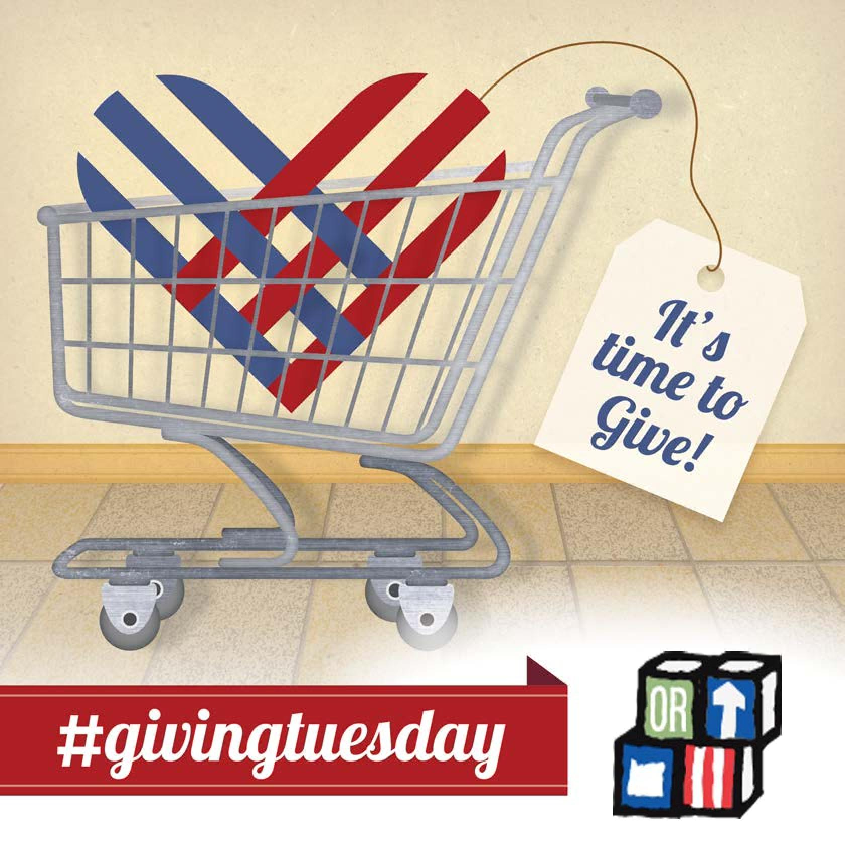 """#GivingTuesday Shopping Cart with """"It's time to give"""" tag"""