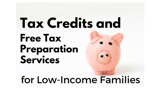 "Pink piggy bank with text ""Tax Credits and Free Tax Preparation Services for Low-Income Families"""